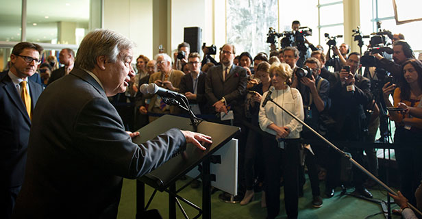 United Nations Secretary-General António Guterres talks to press (UN Photo/Rick Bajornas)