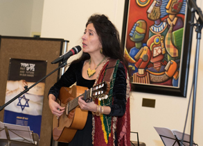 Timna Brauer, renowned singer and songwriter, performing in the VIC during commemorative ceremony on Holocaust Remembrance Day
